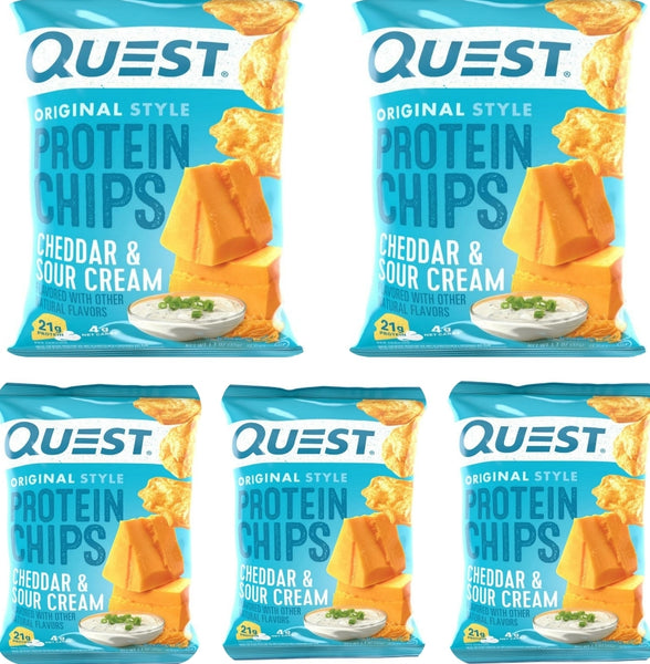 Bulk Buy 5 packs-Quest Nutrition-Cheddar & Sour Cream Protein Chips