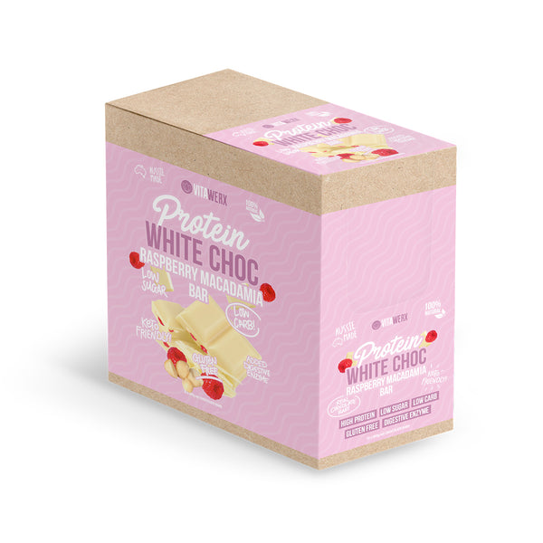 Bulk Buy-Vitawerx -Raspberry Macadamia White Chocolate 100g Bar(12 bars)