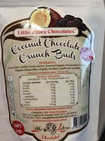 LITTLE ZEBRA CHOCOLATES- Dark Chocolate Crunch Buds  Coconut 85g