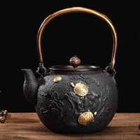 Happiness, Good Luck and Long Life. Cast Iron Tetsubin Teapot with Crain and Turtles *