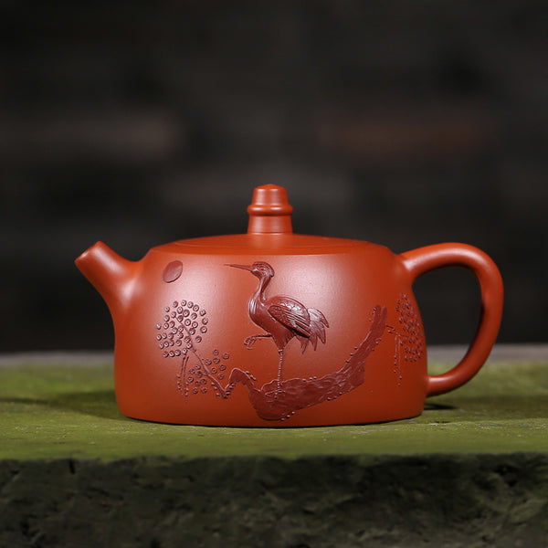 Yixing Authentic Handmade Purple Grit Teapot Vintage Pattern Dahongpao Ore