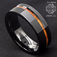 Black Brushed Tungsten Carbide Ring Koa Wood Ring