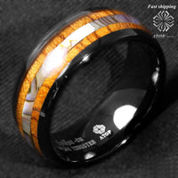 8mm Black Tungsten carbide ring Koa Wood Abalone ATOP Wedding Band Men's Jewelry