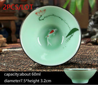 New Multiple Varients 2PCS/Lot Chinese Style Longquan Celadon Teacup Hand Painted Vintage Pattern Vintage Small Tea Bowls Master Pu Er Tea Cups Gifts