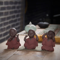 Purple Clay Sand Buddha Monk Tea Pets - Don't Look - Don't Talk - Don't Listen