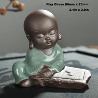 Little Monk Tea Pet Playing Chess