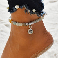Ankle Jewlery - Matte Frosted Amazonite Beads With Lotus OM Buddha Charm Yoga Statement Bracelet Jewelry - Free + Shipping