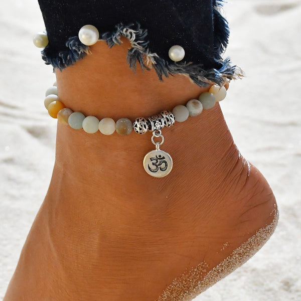 Anklet Jewelry - Matte Frosted Amazonite Beads With Lotus OM Buddha Charm Yoga Statement Bracelet Jewelry