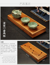 Two Cup and Gaiwan Kung Fu Tea Set with Serving Tray - Crackle or Smooth Finish