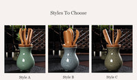 Chinese Celadon Ceramic Vase with 5 Piece Bamboo Tea Tools For Kung Fu Ceremony