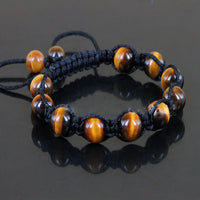 Men's Nature Tiger Eyes Semi Precious Stones Handwoven Adjustable Braiding