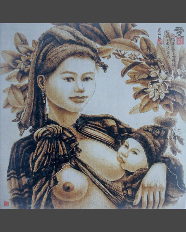 107 Naxi Wood Burned Art:  Woman Breast Feeding Baby