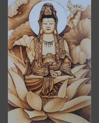 108 Naxi Wood Burned Art:  Buddhist Goddess Sitting on Throne of Lotus Flower