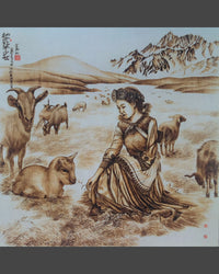 109 Naxi Wood Burned Art:  Beautiful Naxi Woman With Lambs