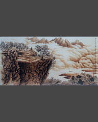 115 Naxi Wood Burned Art:  Landscape - Mountains, Clouds, River, Retreat on Cliff
