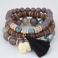 Wooden Beaded Bracelet Sets: White Elephant Charm and Tassel *