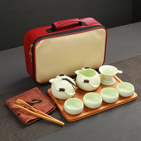 "Deluxe  Porcelain Traveling Tea Set. Serves Four ""On-The-Go"" *"