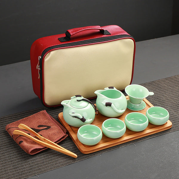 Deluxe  Porcelain Traveling Tea Set. Serves Four