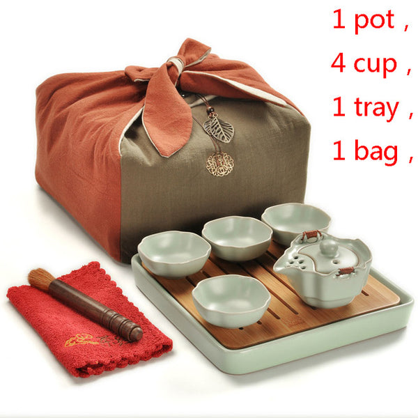 High Quality Kung Fu Tea Set in Case - Teapot Kettle (Gaiwan) 4 cups - Serving Tray