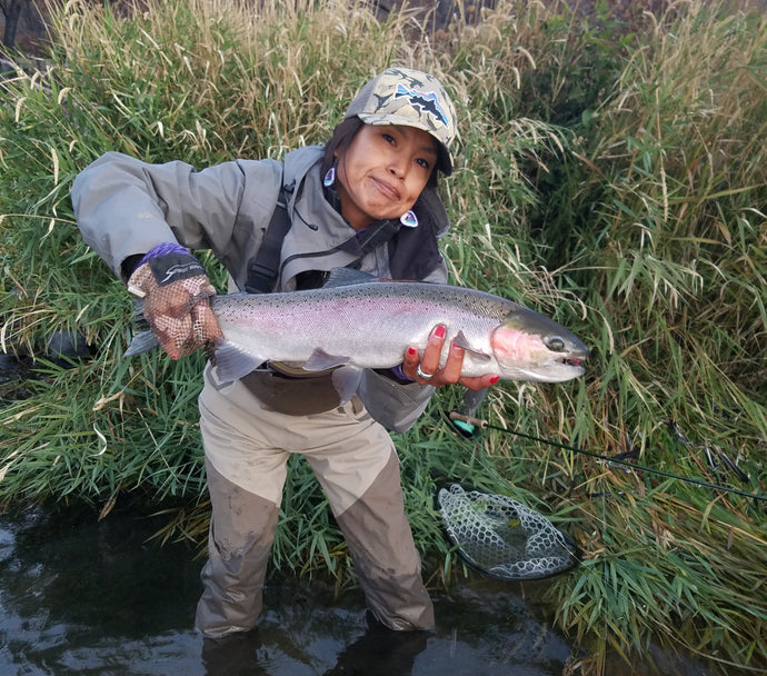 Fishing with Elke on the Deschutes by Terry J Wiest