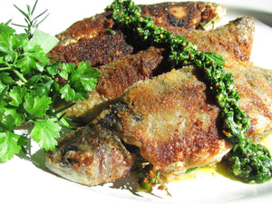 Herb Stuffed Boneless Trout with Chimichurri Sauce