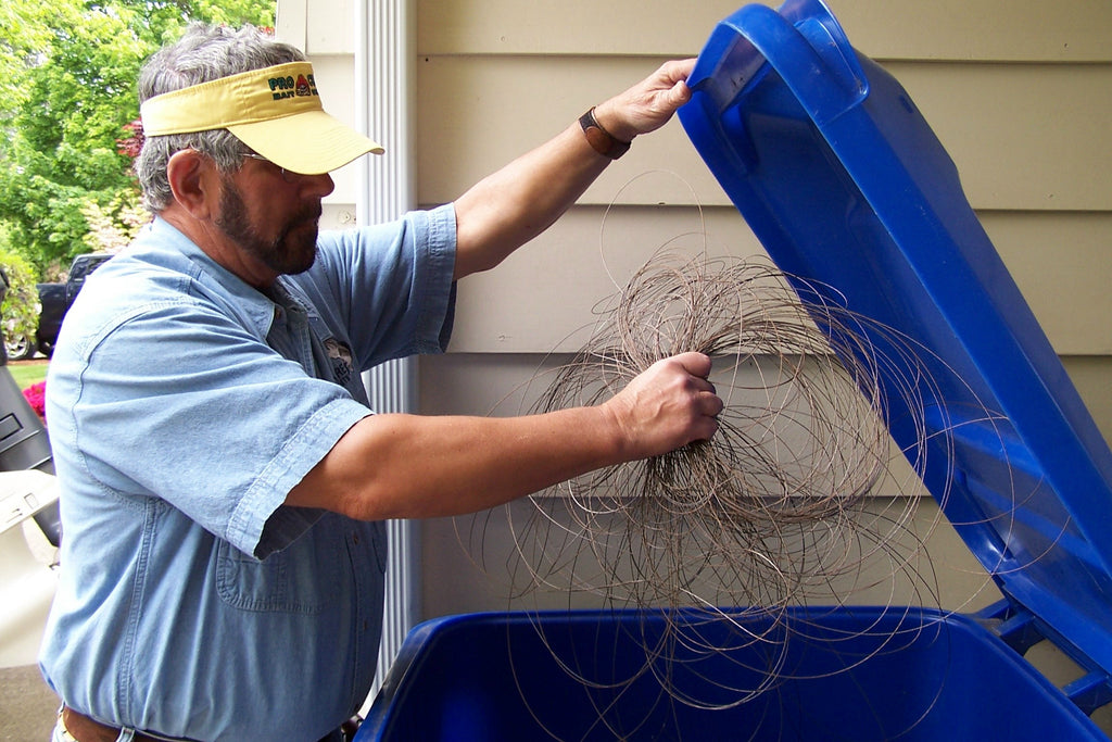 put wire recycle bin trash drop