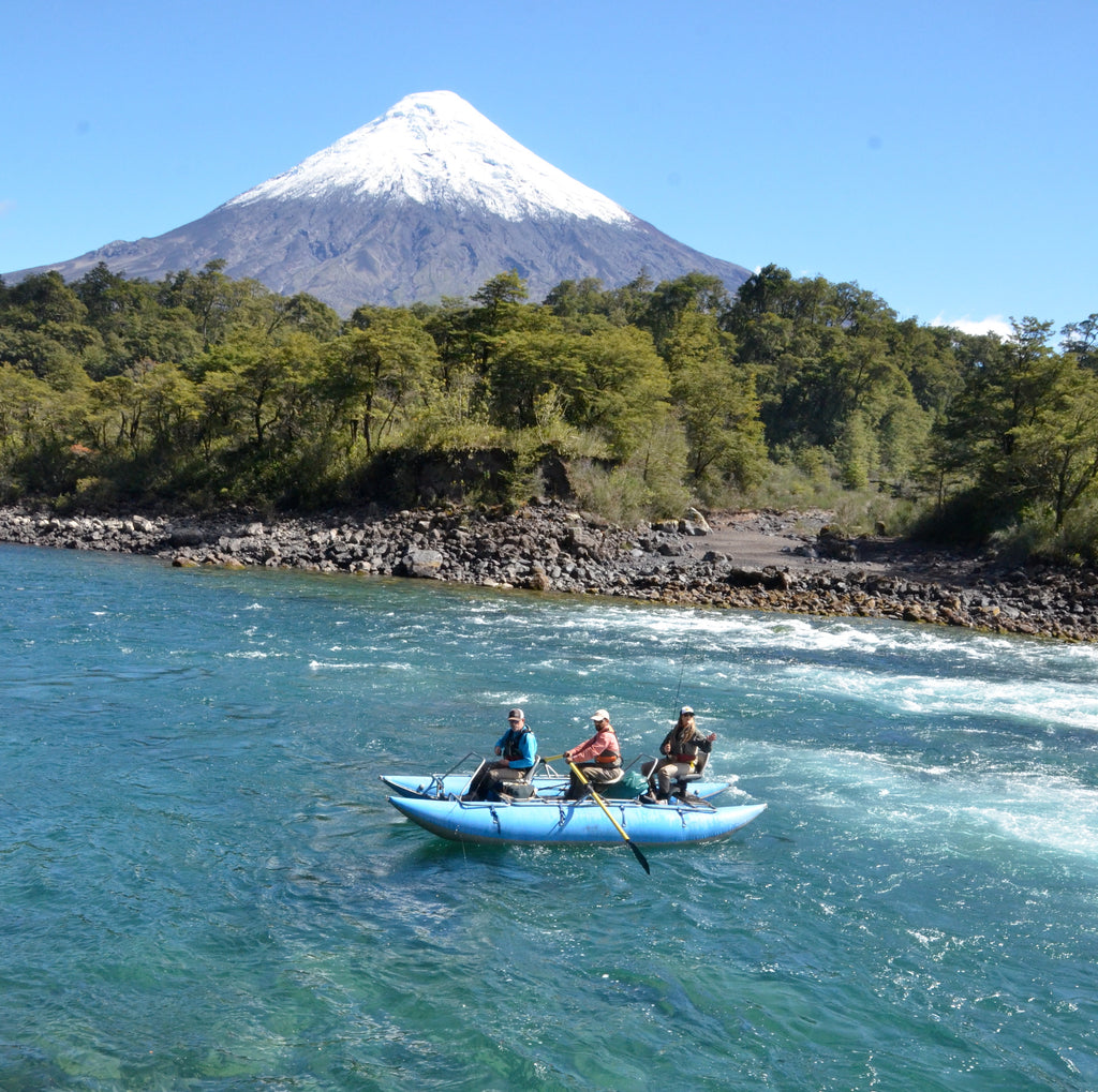chile patagonia fly fishing trout brown rainbow nymph mountain boat pontoon raft