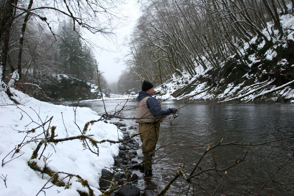 fishing steelhead in the snow
