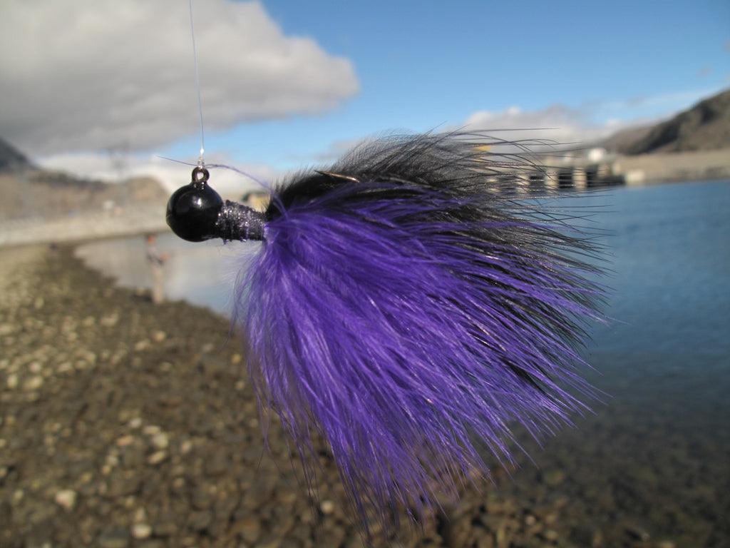 jig fishing steelhead marabou cerise purple black