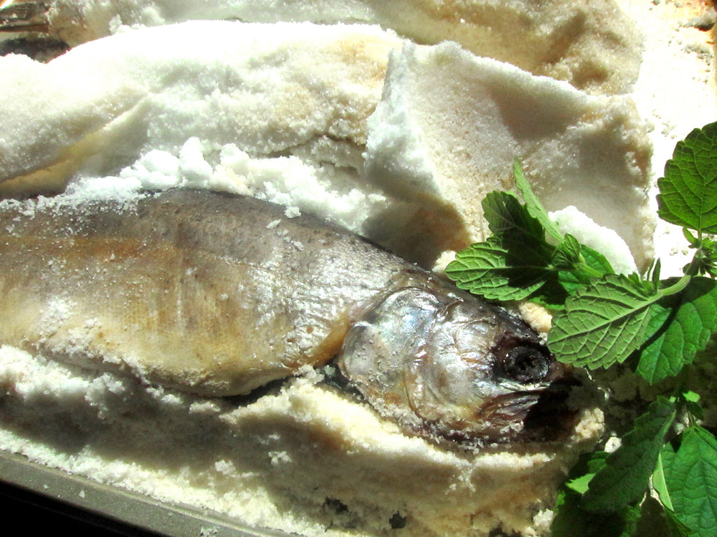 salt crusted trout