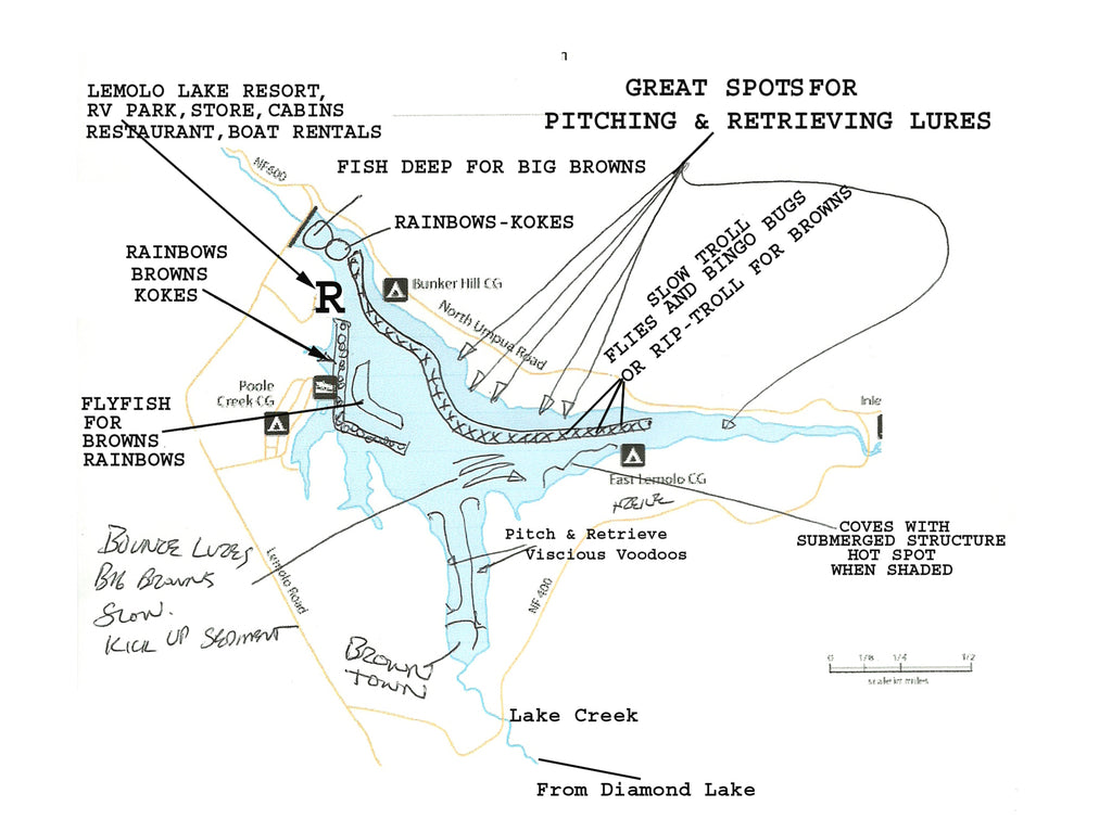 map of lemolo lake fishing