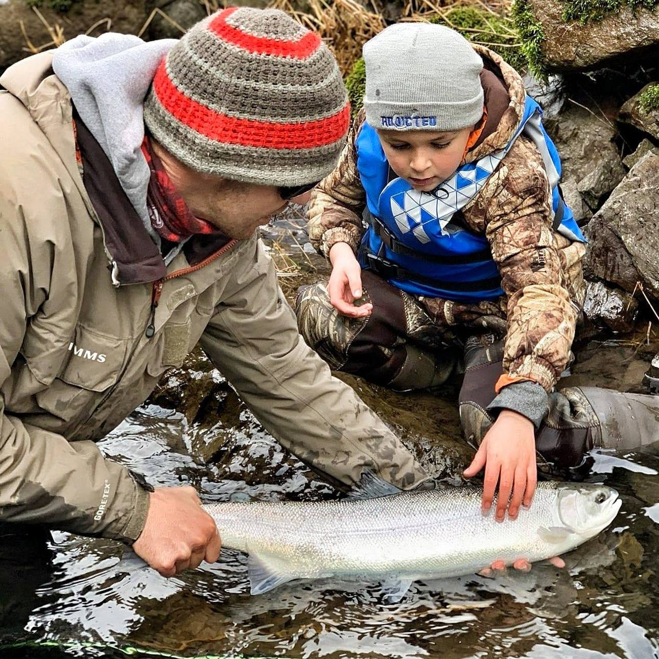 cameron black layden black steelhead fishing kids fish