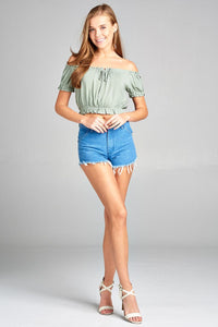 Ladies fashion short sleeve off the shoulder bubble hem w/ribbon tie waist elastic crop challis woven top