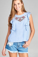 Ladies fashion ruffle cap sleeve round neck front floral embo w/back button detail stripe woven top