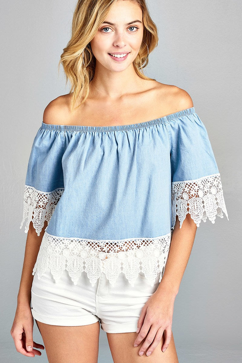 Ladies fashion short sleeve off the shoulder w/crochet lace chambray top