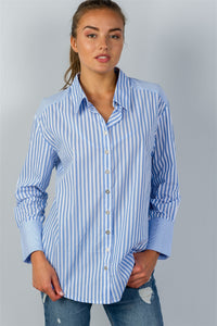 Ladies fashion sky blue stripe print convertible cold-shoulder shirt