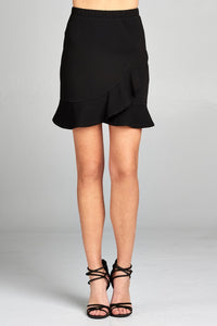 Ladies fashion banded waist wrap look w/ruffle mini skirt