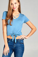 Ladies fashion short sleeve v-neck w/cross strap front self tie rayon spandex top