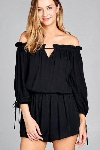Ladies fashion 3/4 sleeve w/tie drawstring crinkle gauze romper