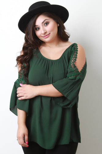 Round Lace Cold Shoulder Bell Sleeve Top