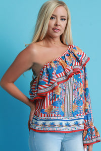 Asymmetrical One Shoulder Ruffled Tier Floral Top