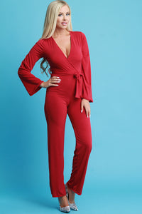 Stretchy Surplice Waist Sash Jumpsuit