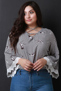 Stripes And Birds Print Bell Sleeves Lace-Up Top