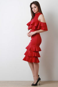 Ruffle Tier Cold Shoulder Two Piece Dress