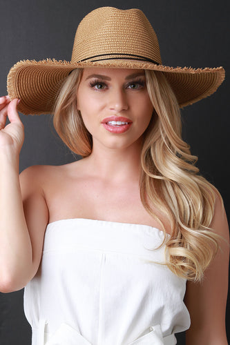 Frayed Straw Fedora Hat