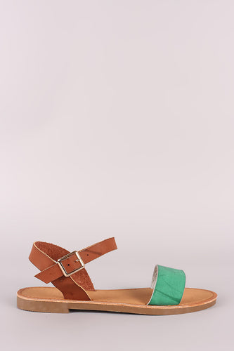Two Tone Open Toe Ankle Strap Flat Sandal
