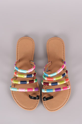 Qupid Strappy Thread Wrapped Toe Ring Slide Sandal