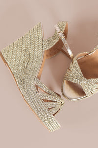 Bamboo Strappy Knotted Espadrille Platform Wedge