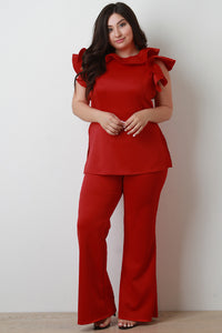 Ruffled Side Slit Top With High Rise Flared Pants Set