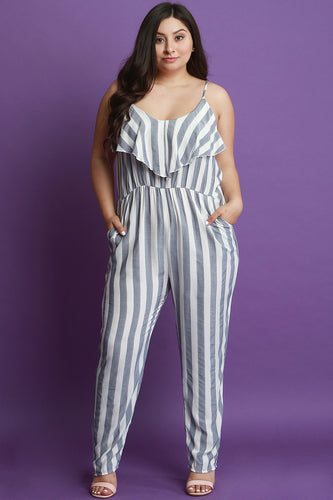 Striped Ruffle Tier Sleeveless Jumpsuit